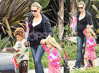 Photos of Pregnant Heidi Klum with Kids Henry and Leni Leaving Preschool in LA