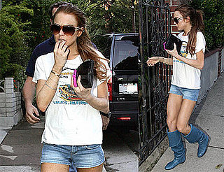 Photos of Lindsay Lohan at Samantha Ronson's House After Twittering She Has Great News to Share