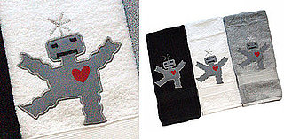Robot Hand Towels From Shana Logic Feature Embroidered Robots