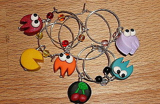 Handmade Pac-Man Character Wine Charm Set from Etsy