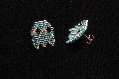 Pacman Inky Ghost Earrings on Etsy