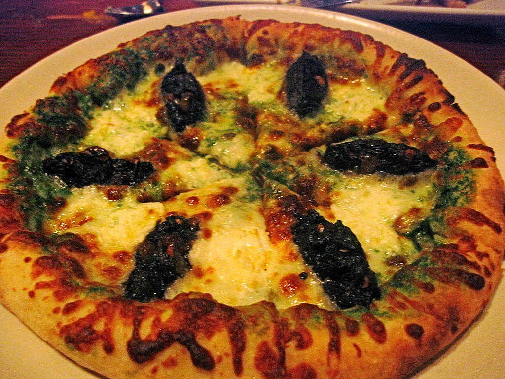Kale, Spinach Pesto, and Chevre Pizza
