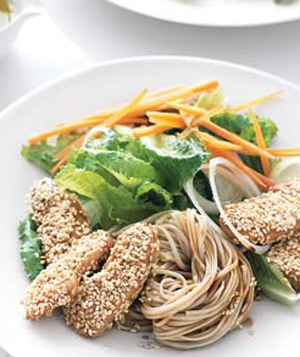 Fast & Easy Recipe For Sesame Crusted Chicken With Soba Noodles