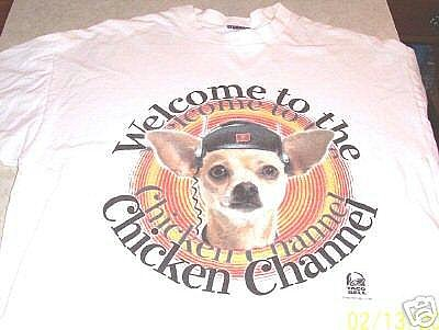 TACO BELL CHIHUAHUA CHICKEN CHANNEL WHITE T-SHIRT LARGE For Sale