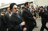Former Iranian president and new candidate for June elections Muhammad Khatami enters the crowd.