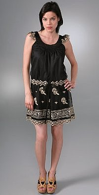Anna Sui Antique Embroidered Scrolls Dress