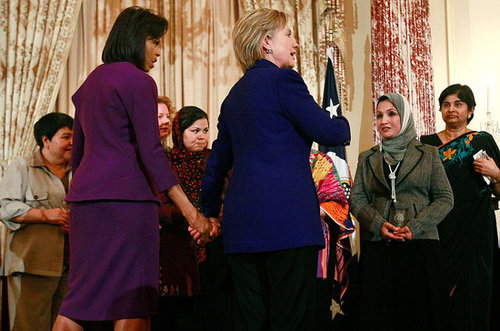Michelle Obama and Hillary Clinton at Secretary of State's Awards For International Women