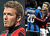 Photos of David Beckham Getting Into a Fight on the Pitch During AC Milan vs Inter Milan Match