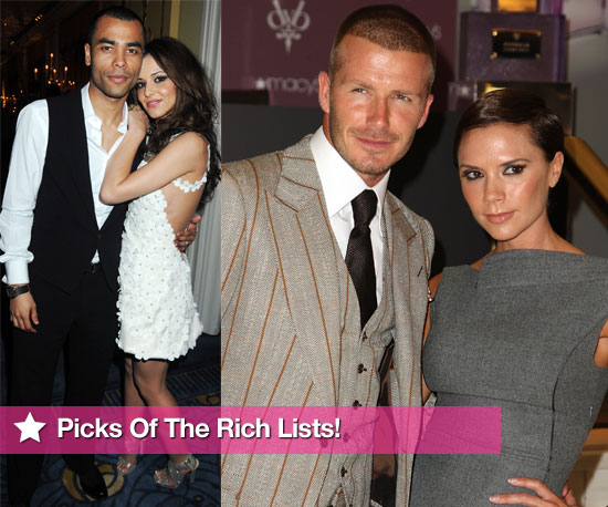 Slideshow Of Photos Featuring Stars Making It Onto the Sunday Times Rich List. David Beckham, Emma Watson, Cheryl Cole, Kylie.