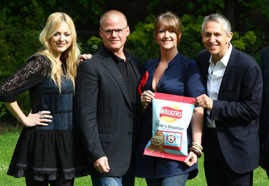Photos of Fearne Cotton, Heston Blumenthal, Gary Lineker at Walkers Do Us a Flavour Builder's Breakfast Winner Announcement