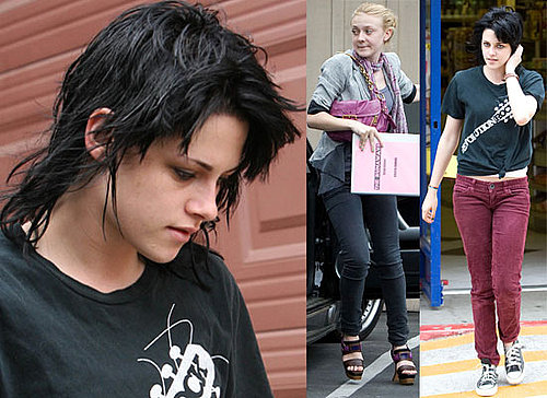 Photos Of Kristin Stewart's Dramatic New Joan Jett Black Hair Style For The Runaways, Plus Behind The Scenes Footage Of New Moon