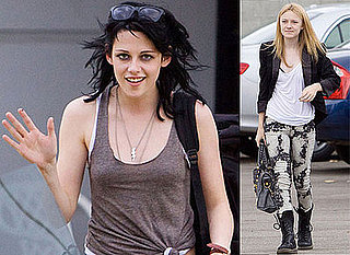 Photos Of Kristen Stewart Smiling And Showing Off Her New Mullet Hair Style For The Runaways Costarring Dakota Fanning