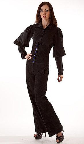 Tall, corsetted denim trouser