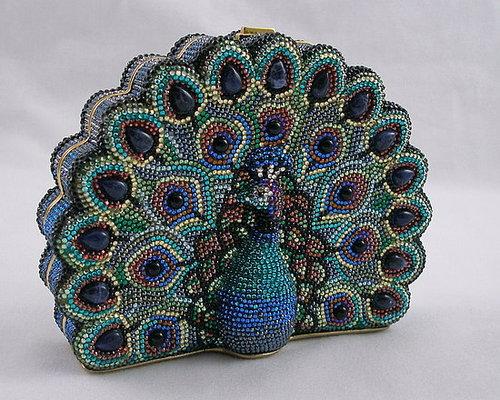 Authentic Judith Leiber Peacock Handbag Purse
