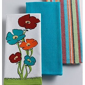 Amazon.com: DII Poppy Dishtowels, Set of 3: Kitchen &amp; Dining