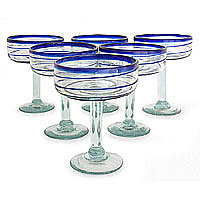 NOVICA - Margarita glasses, 'Cobalt Spirals' (set of 6)