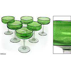 Set of Six 'Lime Twist' Margarita Glasses (Mexico) from Overstock.com