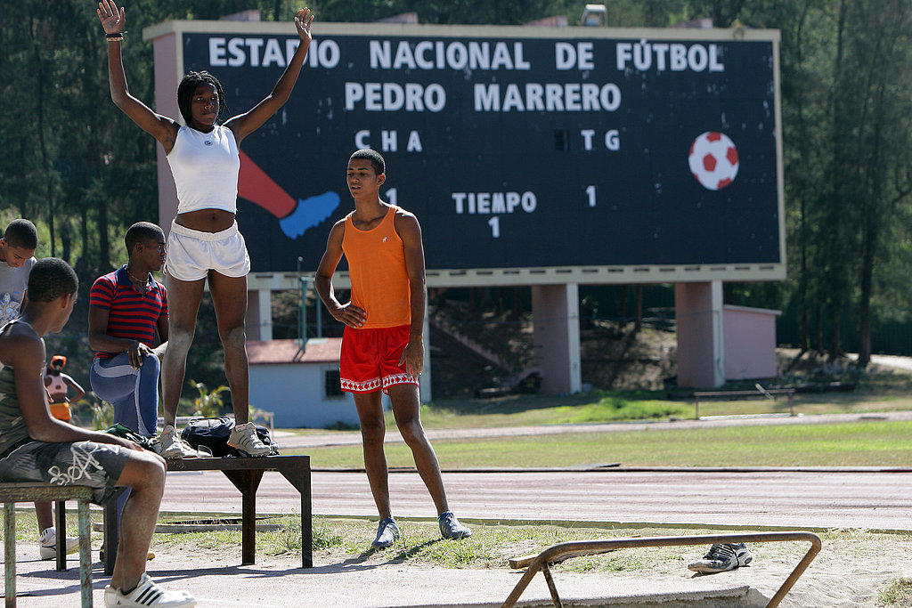 Cuban athletes train at the National Pedro Marrero Stadium