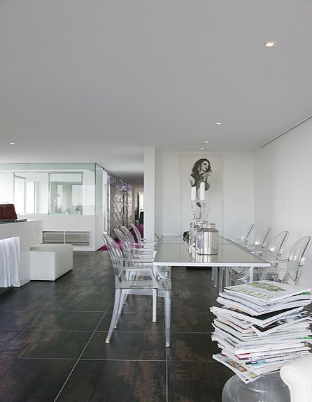 In this modern Brisbane penthouse, Louis's striking form adds interest without challenging the white dress code. Source