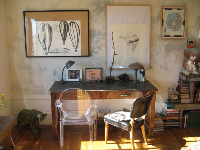 Louis brings a touch of polish to this rustic and artsy office of an AT reader. Source