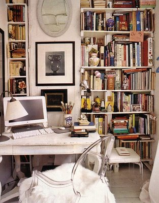 The airy Louis Ghost doesn't weigh down this petite, book-filled office, and an improvisational sheepskin throw adds a little texture. Source