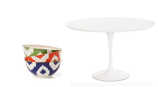 Ikat bowls ($14) add tribal flair to this understated Saarinen Dining Table ($999.99).
