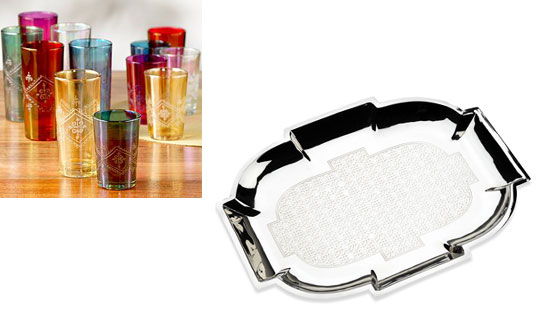 A sophisticated hostess will snap up the Morrocan Tea Glasses ($24.94) and Michael Aram Cocktail Tray ($214.99).