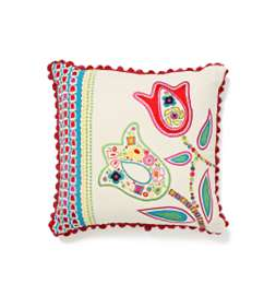The Garden Party Pillow ($98) features abstracted tulips on a cotton background.