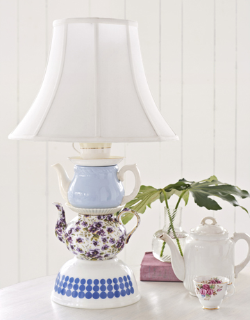 Country Living shows you how to make your own teapot lamp.