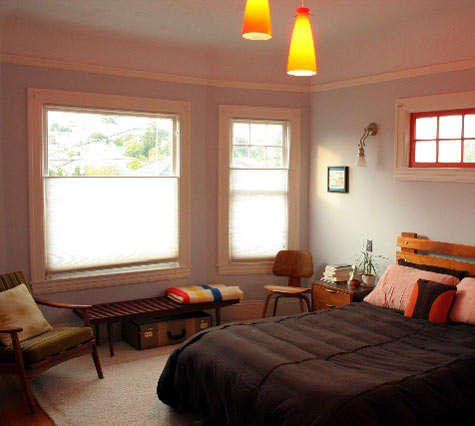 The mid-century dude bedroom: this man sticks to a single style in every furnishing, but the colors keep it interesting.