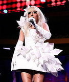 Lady GaGa sported this sculptural white mini dress at Z100's Jingle Ball at Madison Square Garden.