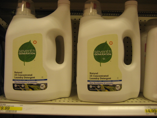 If you're shopping for laundry detergent, it pays to buy in bulk, like this Seventh Generation detergent. Since it's super-concentrated, you can use less of it, and the larger bottle reduces packaging waste.