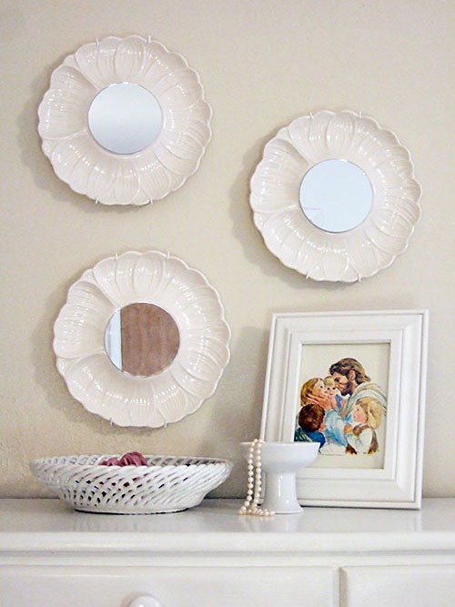 Crafty Nest has a great idea for thrift store plates: make them into mirrors!