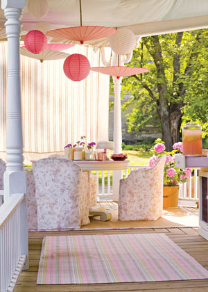 Invite friends over for a brunch celebration on your porch. The pink and white colors here are perfect for a a girly get-together. Source