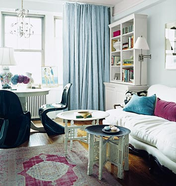 Rashida Jones's Manhattan studio is one of my all-time favorite rooms anywhere. It's really attainable, but also quite à la mode. She mixed a variety of styles — English country, mid-century modern, Moroccan — seamlessly and restrained her color palette. Most impressively, she made the ideal use of such a small space. Source