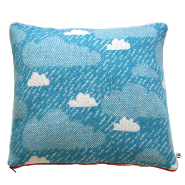 The Donna Wilson Rainy Day Cushion ($64), made of 100 percent lambswool and filled with duck feathers, is the most cheerful rainstorm I've ever seen.