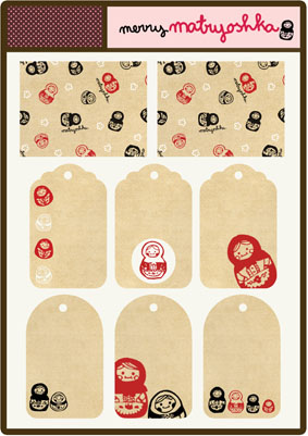 Babalisme made these pretty Merry Matryoshka tags for you to download.