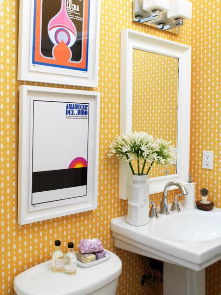 TÉLIO wallpaper lends drama to even the smallest powder room. Check out the full story of her home's transformation here!
