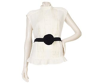 Edition by Erin Fetherston Woven Blouse with Floral Belt - QVC.com - $49.50