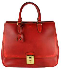 Guess Who Designed This Pretty Red Washed Leather Tote?
