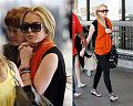 Lohan in Leggings at LAX