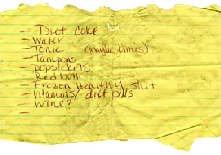 Found: Grocery List of Shame