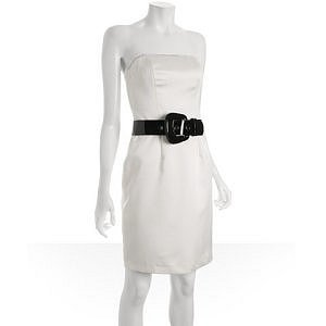A.B.S. ivory belted satin strapless dress
