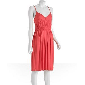 Bluefly Design History deep coral jersey braided tank dress