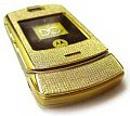 Motorola Stainless Steel Gold Phone With 855 Diamonds