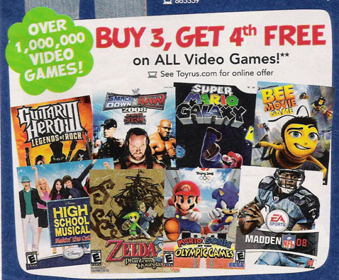 "Buy Three Get One Game Free at Toys ""R"" Us"
