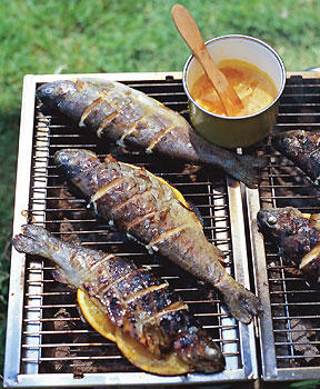 Sunday BBQ: Grilled Striped Bass with Orange-Saffron Butter