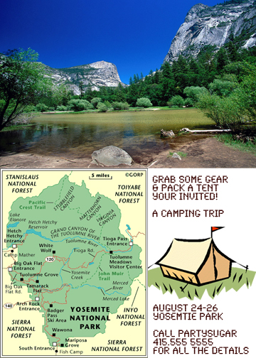 Come Party With Me: Camping Trip - Invites