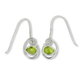 $35.00: Sterling Silver Cabachon Peridot Dangle Earrings by Sajen: Jewelry & Watches
