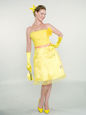 PEEPS The inspiration for this yellow knee-length dress with perfectly matched accessories? Everyone's favorite Easter candy: P